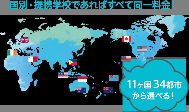 11ヶ国34都市から選べる!国別・提携学校であればすべて同一料金!