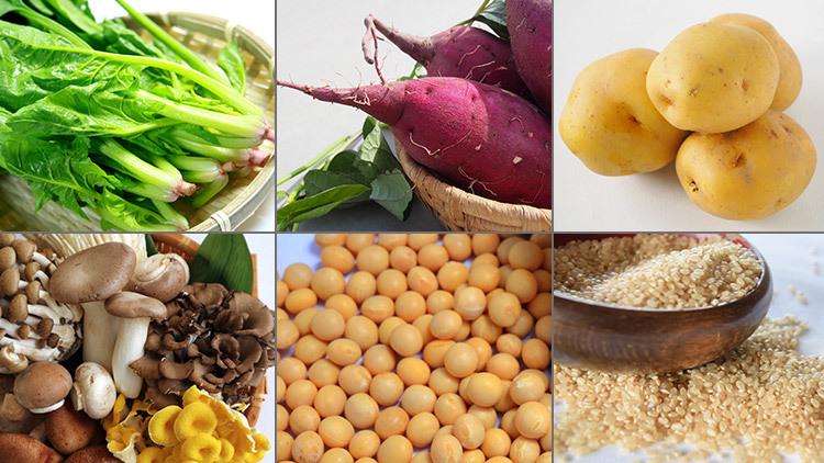 不溶性食物繊維が含まれている食材(葉野菜、さつまいも、じゃがいも、きのこ、豆類、玄米)